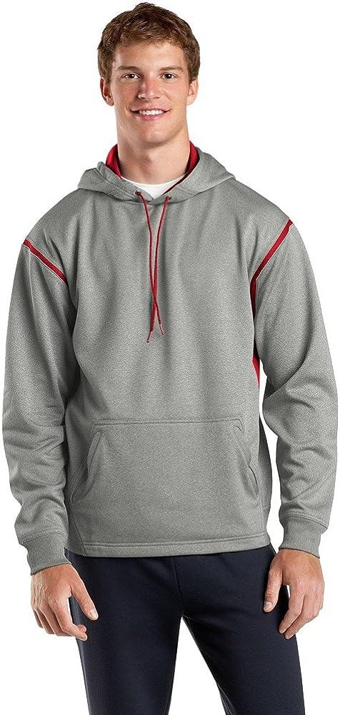 Sport Tek Tall Tech Fleece Hooded Sweatshirt-3XLT (Grey Heather/True Red)