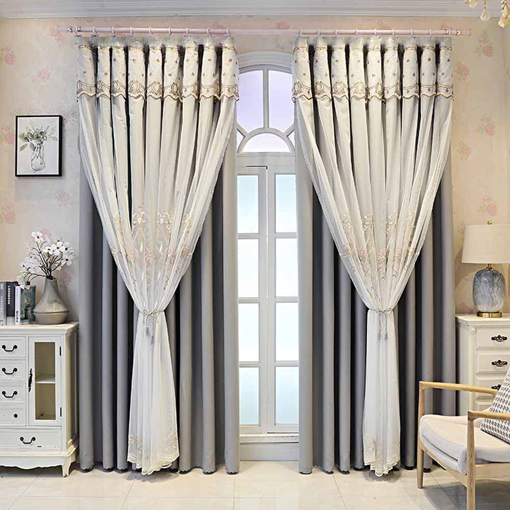 Double Chicago Mall Layer Window Curtain Embroidery latest Deck lace Elegant