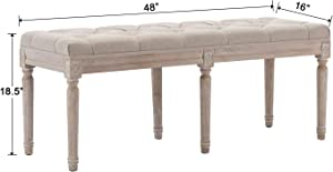 Kmax Upholstered Dining Room Bench, Rustic Living Room Ottoman Bench with Carved Pattern & Rustic White Brushed Rubber Wood Legs, Beige
