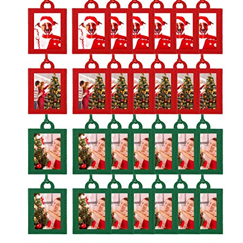 30 Pieces Christmas Photo Ornament Frames Mini Picture Frames Small Holiday Frames Christmas Ornaments for Christmas Tree Display Decorative Table Home Decor 5 x 7 cm (Red,Green)