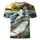 RelaxLife Hombre 3D Estampado Camiseta Entusiastas De La Pesca Casual Camiseta con Estampado Digital En 3D De Los Hombres Hombres Camiseta De Pescado...