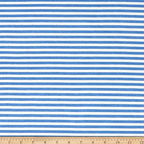 TELIO Blue 1/4' Stretch Rayon Stripe Jersey Knit Fabric by The Yard