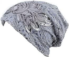 Women Turban Chemo Hat Headwear Lace Headscarf Hat Sequins Hair Loss Head Scarf Wrap Cap