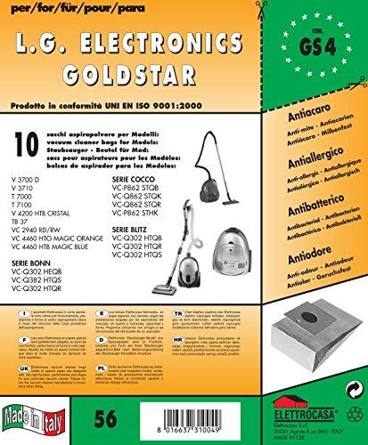 GS 4 - sacchetti per aspirapolvere confezione da 10 sacchi carta
