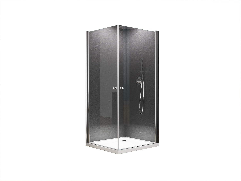 Duschkabine Eckeinstieg Dusche Sofia 100 x 100 x 200cm   8mm   mit Duschtasse + Ablaufgarnitur