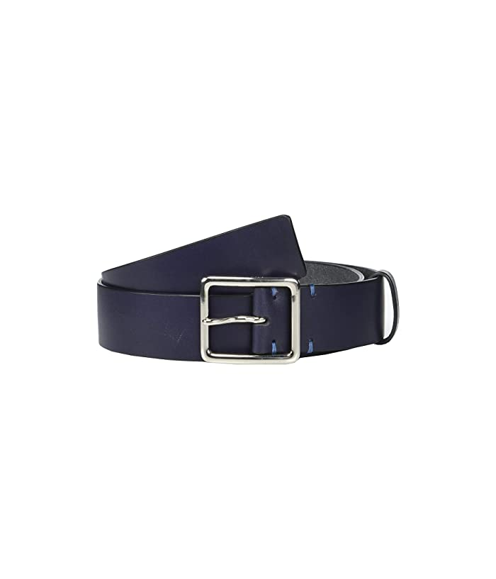 Cole Haan 35 mm Smooth Leather Belt w/ Cut Burnished Edge (Navy) Men