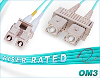 FiberCablesDirect - 2M OM3 LC SC Fiber Patch Cable | 10Gb Duplex 50/125 LC to SC Multimode Jumper 2 Meter (6.56ft) | Length Options: 0.5M-300M | 10g lc-sc mmf 10gbase sfp+ dplx aqua zipcord lommf ofnr