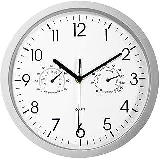 Foxtop Moderno Silencioso Reloj de Pared sin Tic TAC con Termómetro e Higrómetro, Mide Temperatura y Humedad, 25 cm Diámetro, funciona con Pilas, Color Plata
