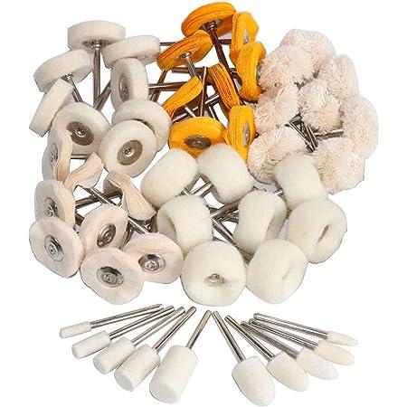 50pcs Wool Polishing Buffing Wheel Grinding Pad+4pcs Shanks for Dremel Rotary