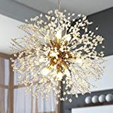 Bedroom Chandelier Light Fixtures, 9 Light Modern Dandelion Crystal Chandeliers Gold Fashon Fireworks Led Light Fixture Hanging Ceiling Lights for Living Room Dining Room Bar Restaurant