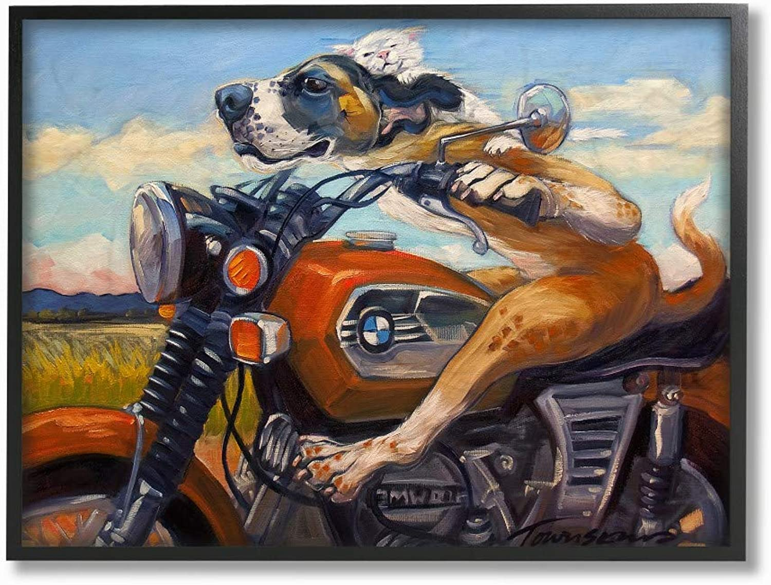 The Stupell Home Decor Collection Dog & Cat on A Red Motorcycle Framed Giclee Art, 16x20, Multicolor
