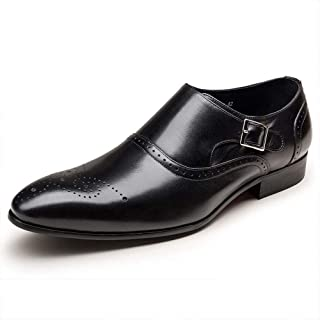 HongJie Hou Monk Strap Oxfords for Men Brogue Carving Low Block Heel Microfiber Upper Perforated (Color : Black, Size : 8 UK)