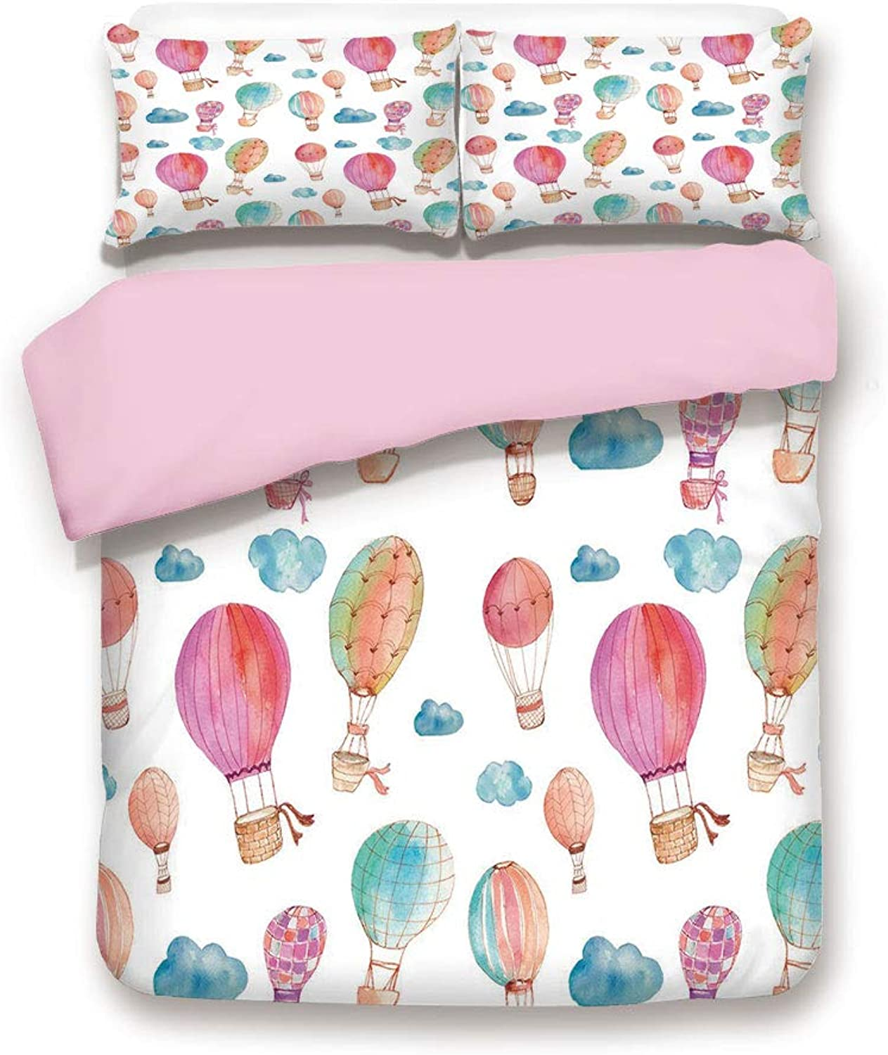 Pink Duvet Cover Set,Twin Size,Hand Painted Style Set of Cute Floating Hot Air Balloons with bluee Clouds,Decorative 3 Piece Bedding Set with 2 Pillow Sham,Best Gift for Girls Women,bluee Pink Coral