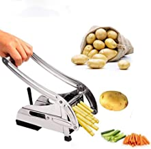 Potato Chippers, Homeself Stainless Steel French Fries Cutter, Homemade Potatoes Slicer with 2 Thickness Adjustable Blades, for Carrots Apples Cucumbers Onions Veg Sticks (Silver)