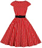 ANCHOVY Women Vintage 1950s Rockabilly Prom Cocktail Party Swing Dress with Belt D01 (red&White dot, M)
