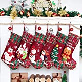 Beyond Your Thoughts 2020 Nikolausstiefel zum Befüllen 6er Set Schnee Weihnachtsstrumpf Kamin Christmas Stockings Groß Nikolaus Socke für Kinder Familien 6er Set Schneemann Weihnachtssmann