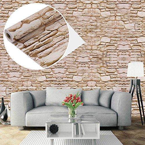UniqueBella Carta da parati autoadesiva da parete 3D, motivo: mattoni, impermeabile, rimovibile, per la casa, la cucina, il soggiorno, 0,45x 10m