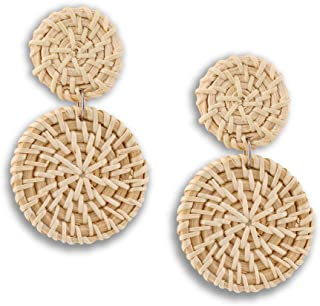 OMEYA Rattan Earrings for Women Handmade Wicker Straw Boho Earrings Braid Double Disc Drop Dangle Earrings Lightweight Geometric Statement Earrings