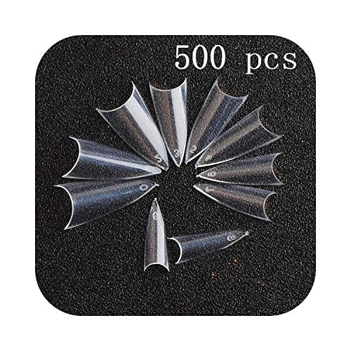 Kit d'autocollants pour ongles 100 / 500pcs ongles moitié français faux ongles conseils d'art acrylique UV Gel manucure pointe @ ME88-500pcs transparent D-,