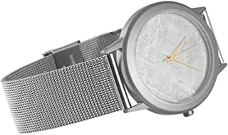 Starborn Creations Genuine Gibeon Meteorite Large 30 mm Face Watch with Stainless Steel Mesh Band