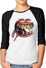 CUPP Women's Ren and Stimpy Logo Women Raglan Sleeve Baseball Tshirts