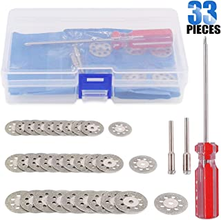 Glarks 30-Pieces 20/22/ 25MM Diamond Cutting Wheel Cut Off Discs Coated Rotary Tools for Dremel Rotary Tool with 2 Pack Mandrel and a Screwdriver