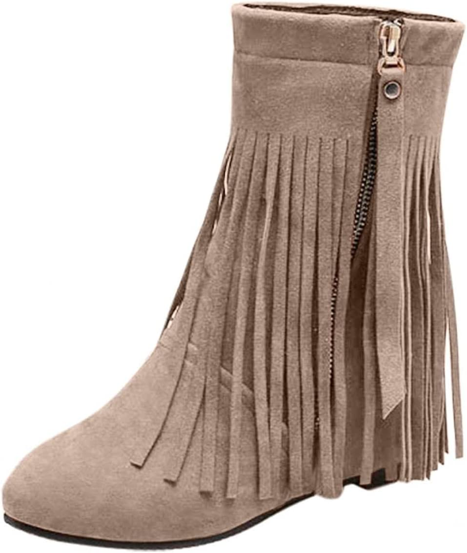 NOLDARES Cowboy Boots for Women Vintage Gothic Style Fringe Tassel Wedge Ankle Booties Retro Punk Buckle Military Platform Boots