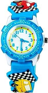 Eleoption Children's Watch Waterproof 3D Cute Cartoon Round Dial Silicone Rubber Band Quartz Wrist Watch Xmas Gift for Little Girls Boy Kids Children Environmental Friendly (Car, Blue)
