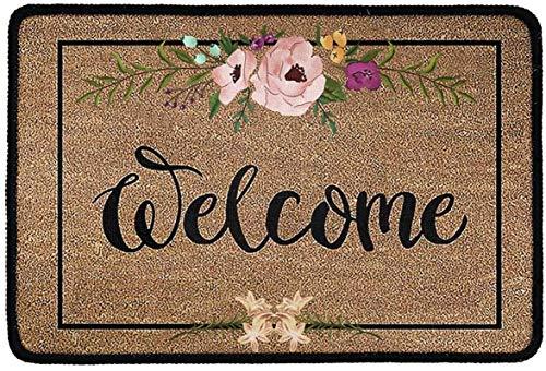 Divertido felpudo de bienvenida Alfombra antideslizante para entrada Alfombras de interior / cocina Alfombra de diseño floral vintage para jardín Sala de estar Dormitorio Cocina Garaje,