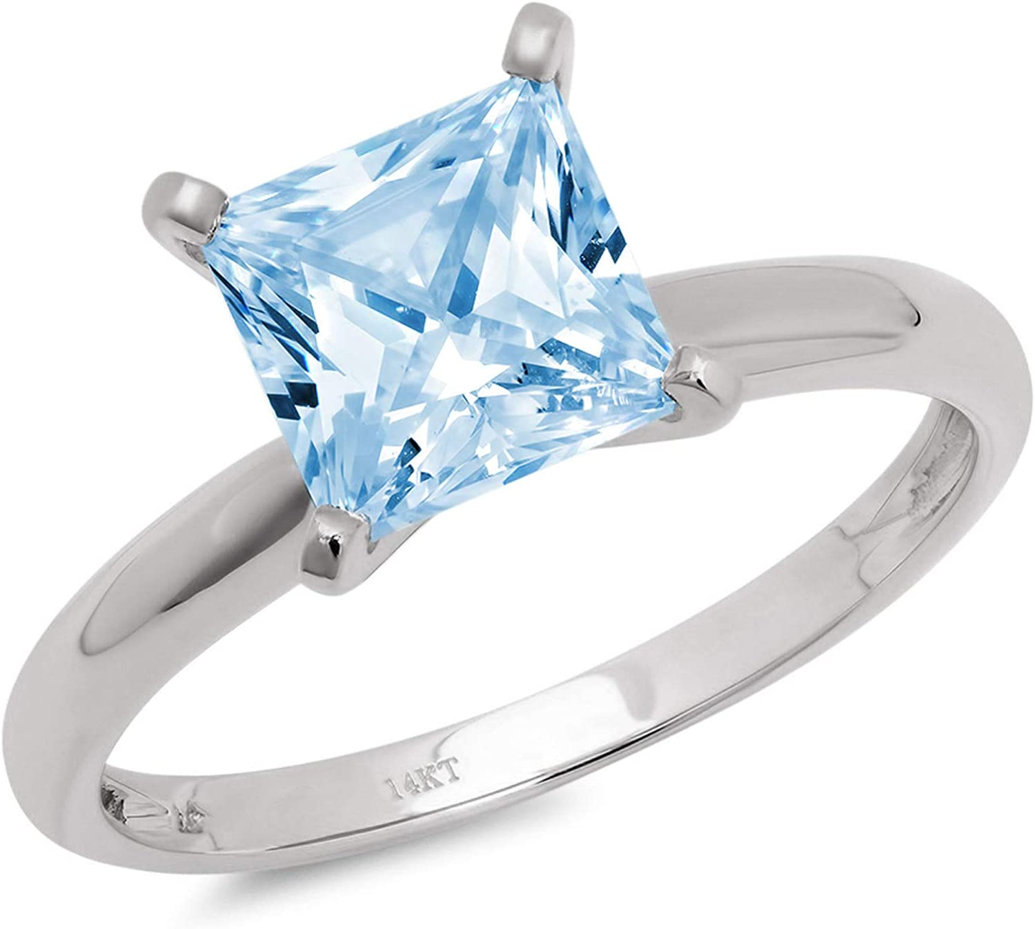 0.9ct Brilliant Princess Cut Solitaire Natural Swiss Blue Topaz Ideal Classic 4-Prong Engagement Wedding Bridal Promise Anniversary Ring Solid 18k White Gold for Women