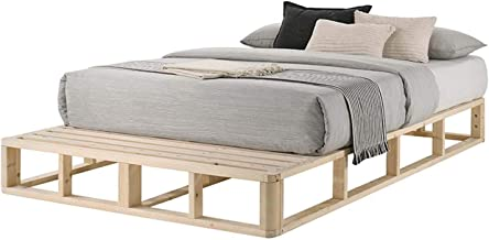 Coastal Pallet Queen Wooden Bed Base Solid Pine Wood - Natural