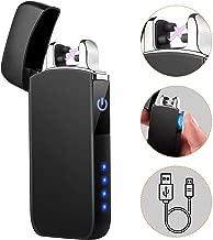 Encendedor USB, TECCPO Encendedor de Doble Arco, A Prueba de Viento, con Interruptor Táctil, Indicador de LED - TDEL02P