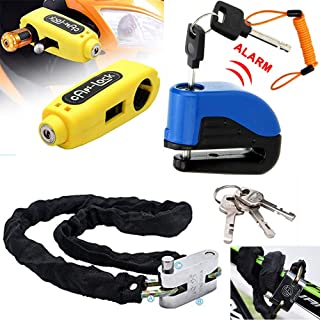 Maso Alarm Disc Brake Lock + Motorcycle Handlebar Lock + Motorbike Heavy Duty Padlock Anti-Theft Security Lock Set + 1.5m Reminder Cable (Set A)