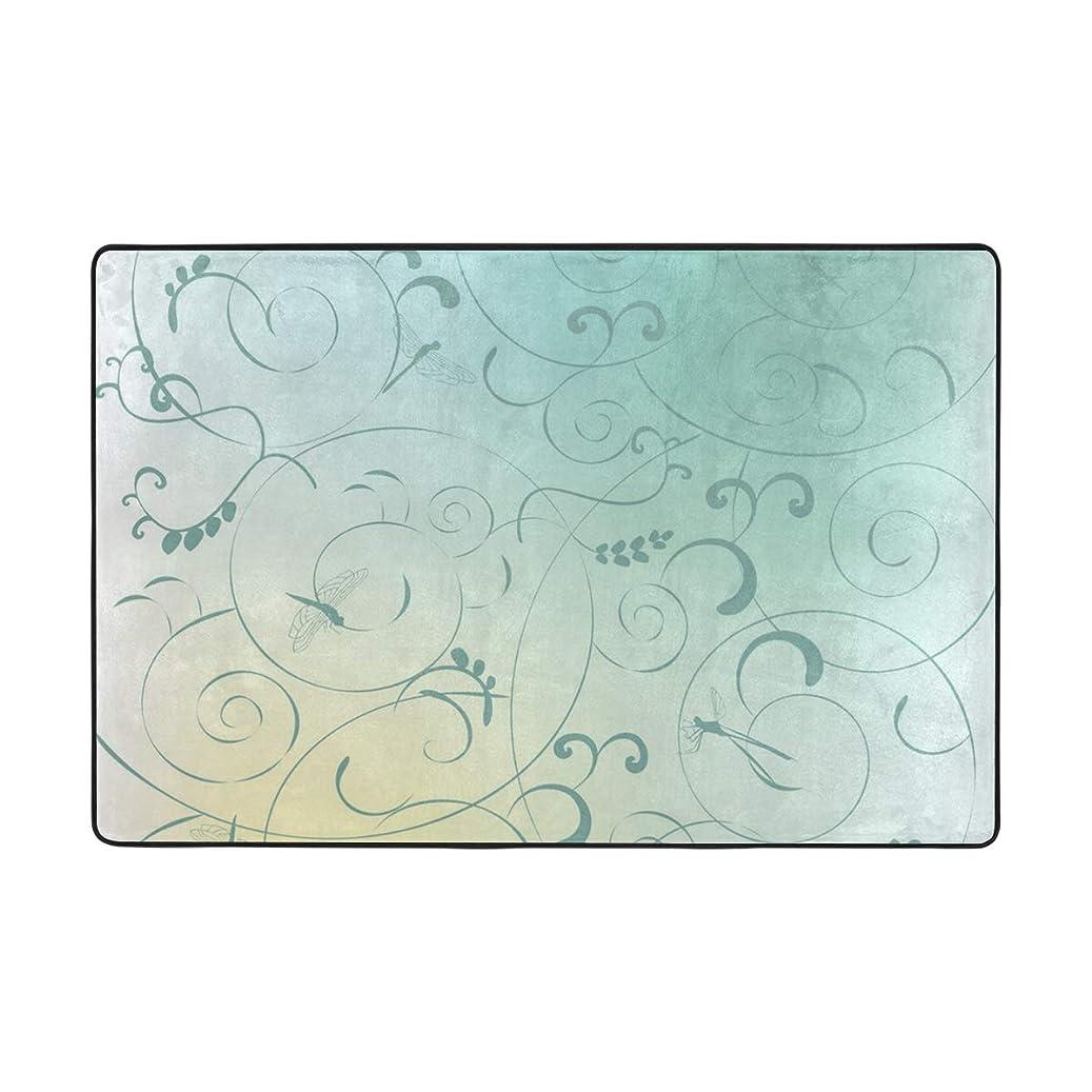 矩形光景登場Spring Anne Koplik トンボ 大型 長方形 厚手 ソフト ふわふわ 古代 キッチン ホーム リビング 滑り止め ランナー カーペット ラグ 36 x 24 inch ブラック