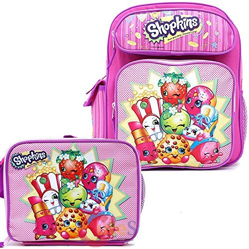 """Shopkins School Backpack Set 12"""" Small Backpack with Lunch Bag 2pc Moose"""