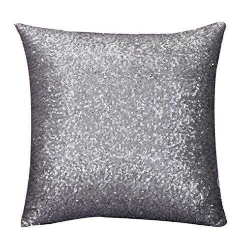 Mingbai Glitter Sequin Throw Pillow Covers Reversible Square Case Cushion Case Decorative Pillowcover Hidden Zipper Design for Sofa Bed Car Kids New Year Wedding/Christmas 16X16 (Beige)