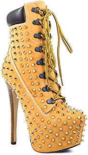 Lace Up Stiletto Heel Ankle Boots, Platform Women's Rivet Studded Chunky Square Round Toe Punk Combat Ankle Bootie