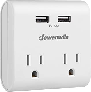 DEWENWILS Multi-Plug Outlet Wall Adapter Surge Protector with 2 USB Ports(3.1A total), 2 Outlets Wall Charger for Home Office Travel, 1080 Joules Surge Protection, ETL Certified, White