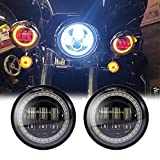 New desgin 4.5 Inch Round Black Cree LED Passing Fog Lights With Red Demon Eyes/White DRL/Amber Turn Signal Halo for Harley Davidson Motorcycles