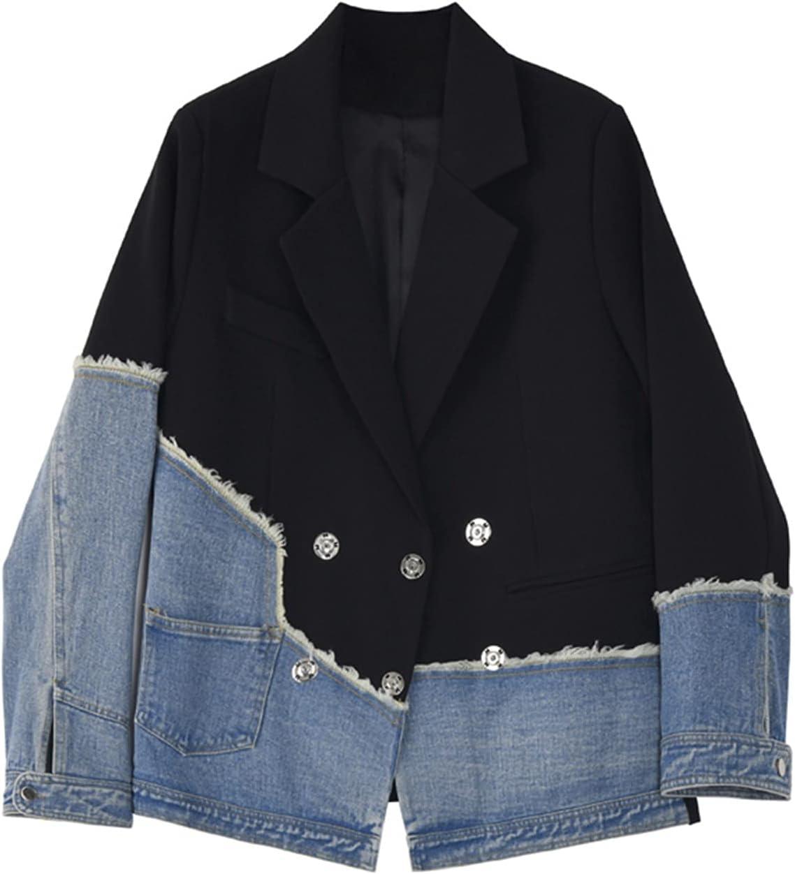 BXSM Suit Patchwork Denim Jacket Unique Design Denim Jacket Suit (Color : Black, Size : Medium)