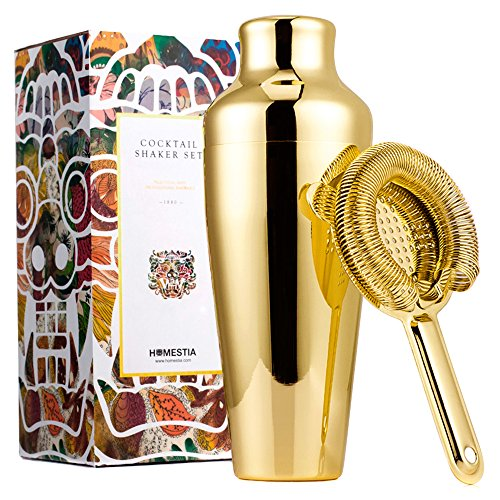 Homestia 20oz Gold Cocktail Shaker with Bar Strainer