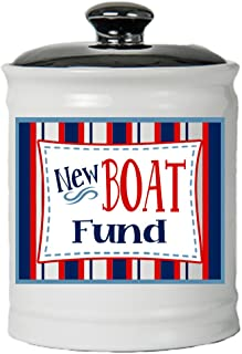 Cottage Creek Boating Gifts Round Ceramic New Boat Fund Jar/Nautical Sailing Boat Lover Gifts [White]