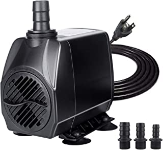 BACOENG 100W 1050GPH Submersible Pump Ultra Quiet Water Fountain Pump with Max 13ft Lift. Long 6.7FT Power Cord & 3 Nozzles for Pond, Aquarium, Statuary, Fish Tank