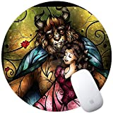 DISNEY COLLECTION Mouse Pad Round Mouse Pad Beauty and The Beast Mural Cute