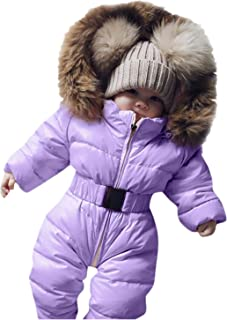 Newborn Infant Baby Boys Girls Snowsuits Hoodie Jumpsuit Winter Warm Padded Thick Coat Outfit (Purple, Recommended Age:9-12 Months)