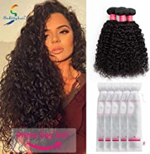 Sedittyhair Brazilian Curly Hair Weave 3 Bundles (16 18 20,300g) Brazilian Virgin Kinky Curly Human Hair Weave 7A 100% Unprocessed Hair Weft Extensions Natural Black Color College school gift