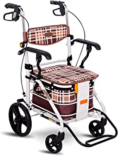 Shopping Trolleys Old Man Shopping cart Folding Roller Walker Outdoor Seating can be Pushed to Buy a Food Truck Height Adjustable, Brake Can Bear 150 kg (Color : Brown, Size : 56 * 56 * 86-92cm)