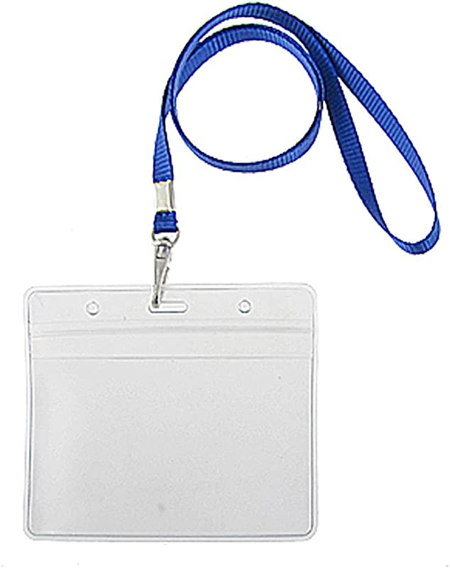 Uxcell 2 Pcs PVC Exhibition Name Cards Holders W Blue Lanyard