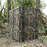 Auscamotek Ground Blind 5×10 Feet for Deer Hunting Turkey Blinds Camouflage Pattern Height Adjustable -Woodland Brown Leaf
