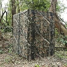 Auscamotek Ground Blind 5×10 Feet for Deer Hunting Turkey Blinds Camouflage Pattern Height Adjustable -Woodland Brown Leaf